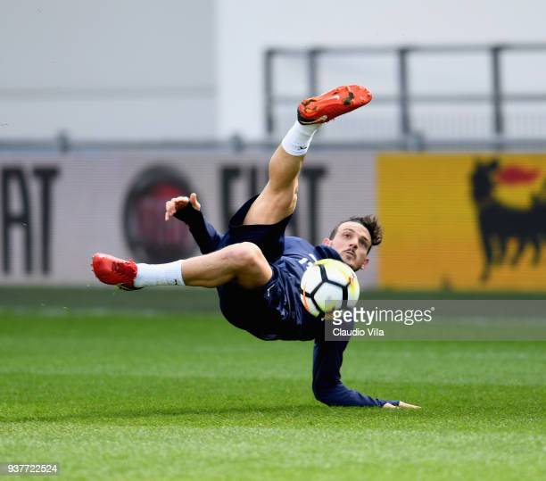Alessandro Florenzi of Italy in action during a training session at Manchester City Football Academy on March 25 2018 in Manchester England