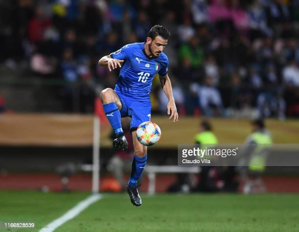 Alessandro Florenzi of Italy in action during the UEFA Euro 2020 qualifier between Italy and Finland at Tampere stadium on September 8, 2019 in...