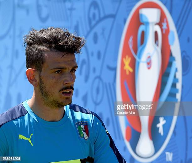 Alessandro Florenzi of Italy looks at the end of the training session on June 9 2016 in Montpellier France