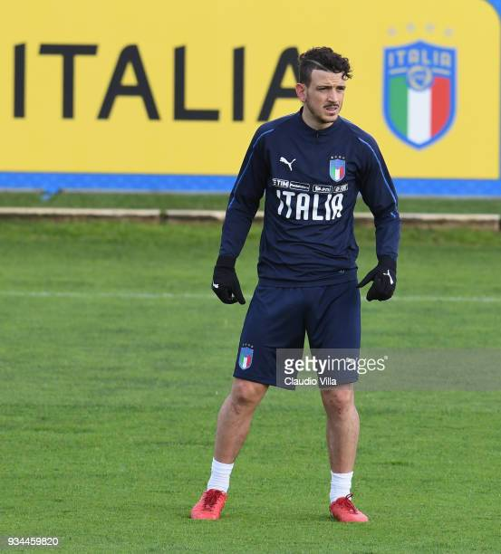 Alessandro Florenzi of Italy looks on during a training session at Centro Tecnico Federale di Coverciano on March 19 2018 in Florence Italy
