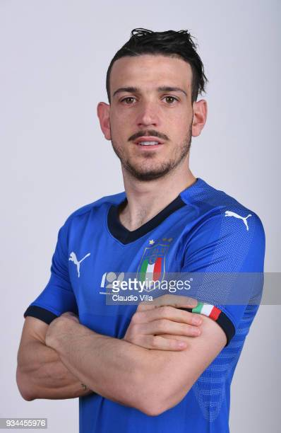 Alessandro Florenzi of Italy poses during the official portrait session at Centro Tecnico Federale of Coverciano on March 19 2018 in Florence Italy