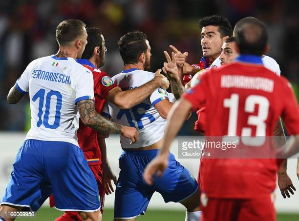 Alessandro Florenzi of Italy protests during the UEFA Euro 2020 qualifier between Armenia and Italy at Republican Stadium after Vazgen Sargsyan on...