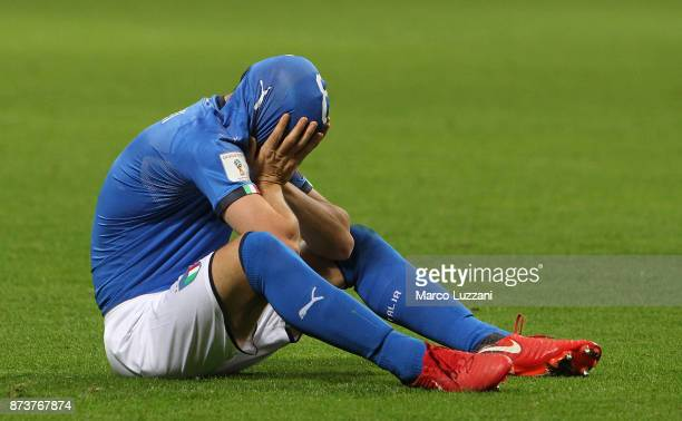 Alessandro Florenzi of Italy reacts after loosing at the end of the FIFA 2018 World Cup Qualifier PlayOff Second Leg between Italy and Sweden at San...