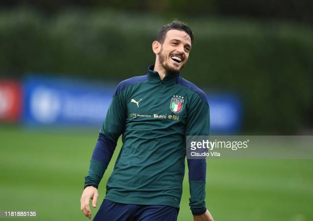 Alessandro Florenzi of Italy reacts during Italy training session at Centro Tecnico Federale di Coverciano on November 12, 2019 in Florence, Italy.