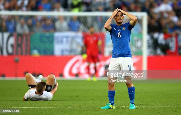 Alessandro Florenzi of Italy reacts during the UEFA EURO 2016 quarter final match between Germany and Italy at Stade Matmut Atlantique on July 2 2016...