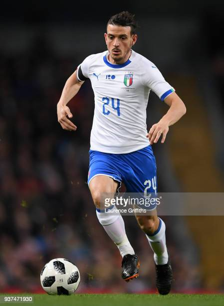Alessandro Florenzi of Italy runs with the ball during the International Friendly match between Italy and Argentina at Etihad Stadium on March 23...