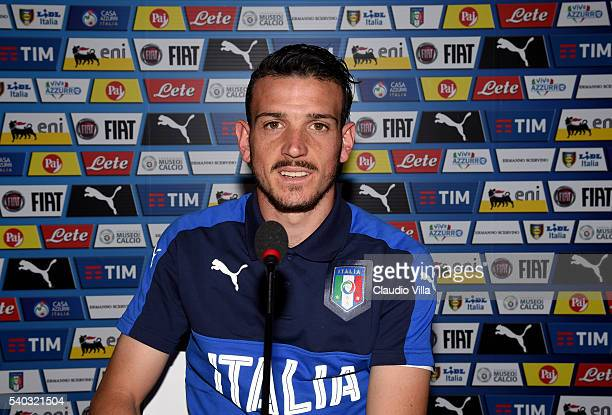 Alessandro Florenzi of Italy speaks with the media during a press conference at Casa Azzurri on June 15 2016 in Lyon France
