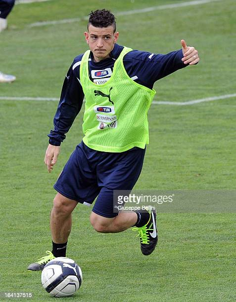 Alessandro Florenzi of Italy U21 during a training session on March 20 2013 in Camposanpiero near Padova Italy
