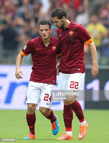 Alessandro Florenzi with his teammate Mattia Destro of AS Roma celebrates after scores the second team's goal during the Serie A match between AS...