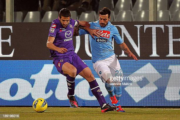 Alessandro Gamberini of ACF Fiorentina fights for the ball with Ezequiel Ivan Lavezzi of SSC Napoli during the Serie A match between ACF Fiorentina...