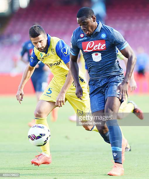 Alessandro Gamberini of Chievo and Duvan Zapata of Napoi in action during the Serie A match between SSC Napoli and AC Chievo Verona at Stadio San...