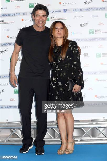 Alessandro Gassman and wife Sabrina Knaflitz attend a photocall ahead of the Nastri D'Argento nominees presentation at Maxxi Museum on May 29 2018 in...