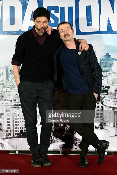 Alessandro Gassmann and Rocco Papalero attend a photocall for 'Onda Su Onda' at St Regis hotel on February 15 2016 in Rome Italy