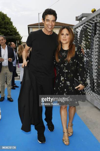 Alessandro Gassmann and Sabrina Knaflitz attend a photocall ahead of the Nastri D'Argento nominees presentation at Maxxi Museum on May 29 2018 in...
