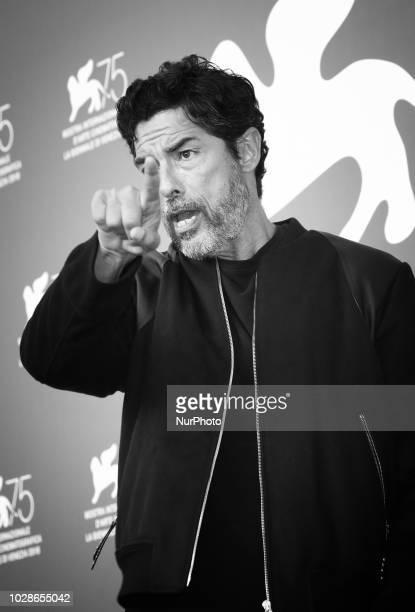 Image has been converted to black and white Alessandro Gassmann attends 'Una Storia Senza Nome' photocall during the 75th Venice Film Festival on...