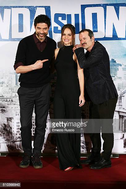 Alessandro Gassmann Luz Cipriota and Rocco Papalero attend a photocall for 'Onda Su Onda' at St Regis hotel on February 15 2016 in Rome Italy
