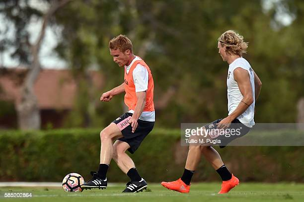 Alessandro Gazzi and Oscar Hiljemark in action during a US Citta di Palermo training session at Tenente carmelo Onorato training center on August 2...