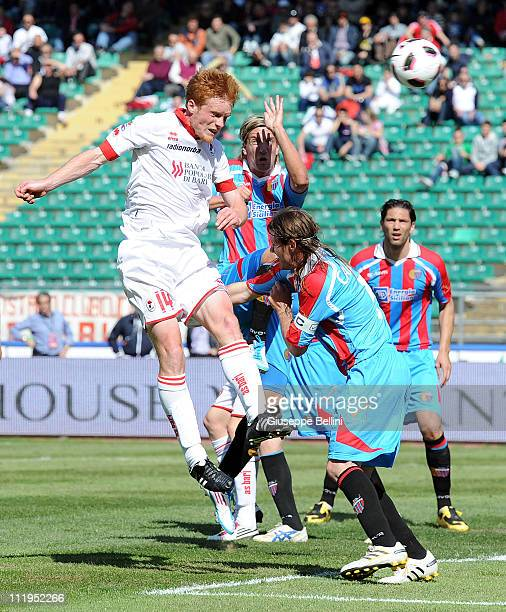 Alessandro Gazzi of Bari scores the opening goal during the Serie A match between AS Bari and Catania Calcio at Stadio San Nicola on April 10, 2011...