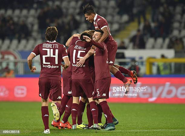 Alessandro Gazzi of Torino FC celebrates after scoring the opening goal with team mates during the TIM Cup match between Torino FC and AC Cesena at...