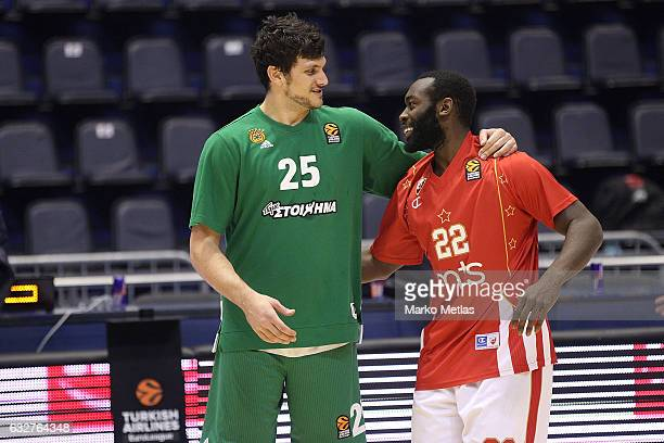 Alessandro Gentile #25 of Panathinaikos Superfoods Athens and Charles Jenkins #22 of Crvena Zvezda mts Belgrade during the 2016/2017 Turkish Airlines...