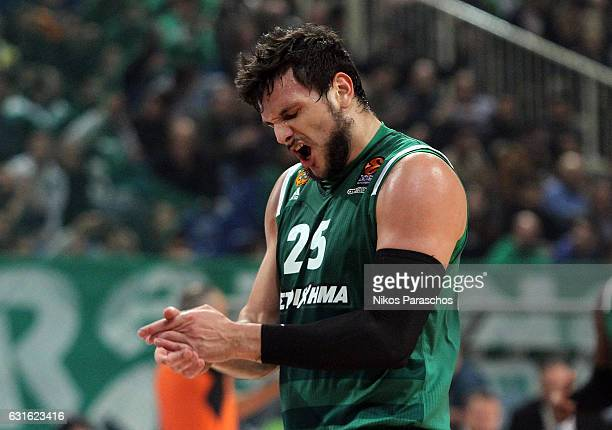 Alessandro Gentile #25 of Panathinaikos Superfoods Athens react during the 2016/2017 Turkish Airlines EuroLeague Regular Season Round 17 game between...