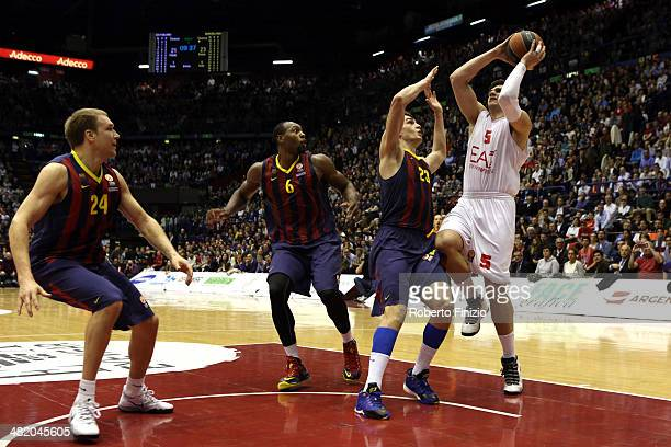 Alessandro Gentile, #5 of EA7 Emporio Armani Milan in action during the 2013-2014 Turkish Airlines Euroleague Top 16 Date 13 game between EA7 Emporio...