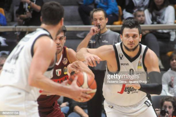 Alessandro Gentile and Guido Rosselli of Segafredo competes with Bruno Cerella of Umana during the LBA LegaBasket of Serie A match between Virtus...