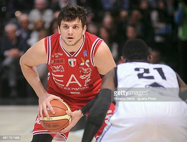 Alessandro Gentile of Armani looks over during the match between Granarolo Virtus Bologna and EA7 Emporio Armani Olimpia Milano at Unipol Arena on...