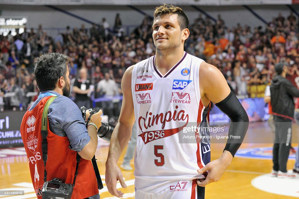 Alessandro Gentile of EA7 celebrates during the LegaBsaket Serie A match between Reyer Umana Venezia and EA7 Emporio Armani Olimpia Milano at Palasport Taliercio on May 29, 2016 in Mestre, Italy.