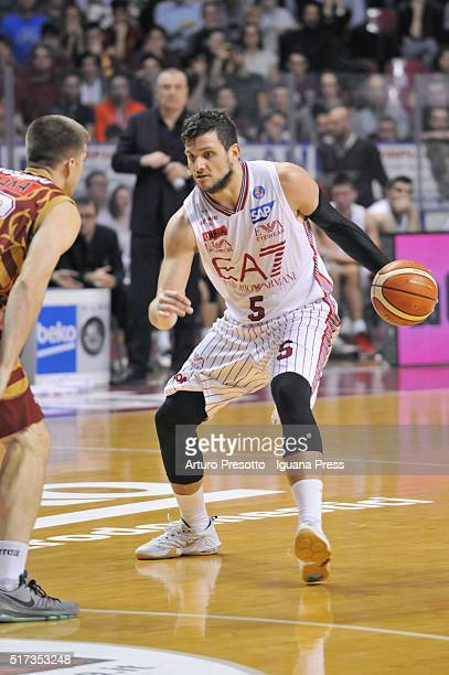Alessandro Gentile of EA7 competes with Jeff Viggiano of Umana during the LegaBsaket Serie A match between Reyer Umana Venezia and EA7 Emporio Armani...