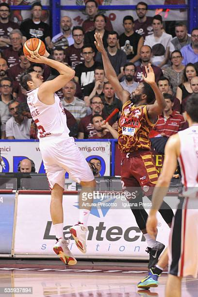 Alessandro Gentile of EA7 competes with Jeremy Pargo of Umana during the LegaBsaket Serie A match between Reyer Umana Venezia and EA7 Emporio Armani...