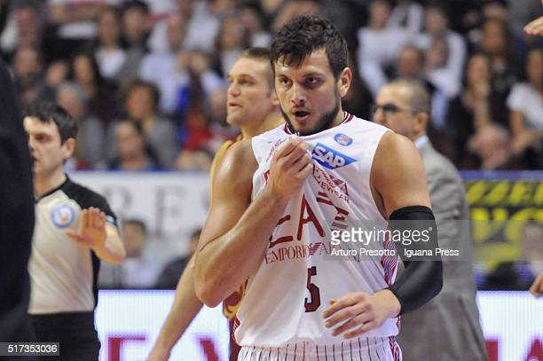 Alessandro Gentile of EA7 looks over during the LegaBsaket Serie A match between Reyer Umana Venezia and EA7 Emporio Armani Olimpia Milano at...