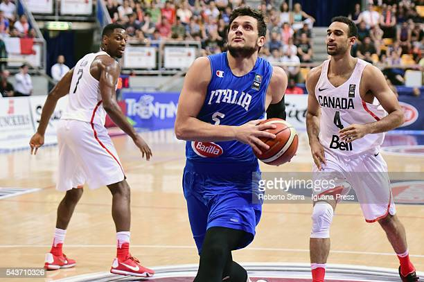 Alessandro Gentile of Italy Basketball National Team in action during the friendly match between Italy and Canada at PalaDozza on June 26 2016 in...