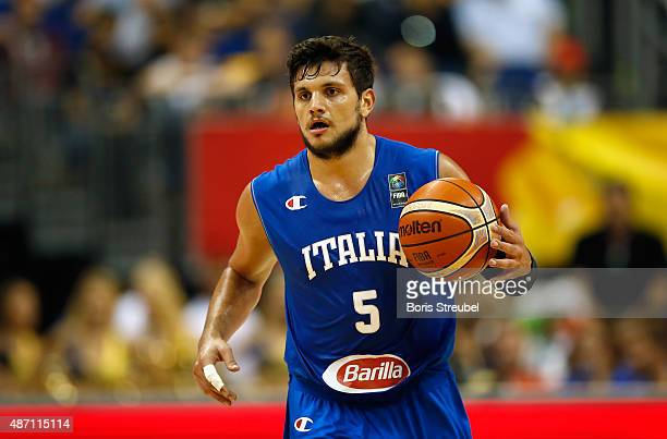 Alessandro Gentile of Italy dribbles the ball up court during the FIBA EuroBasket 2015 Group B basketball match between Iceland and Italy at Arena of...