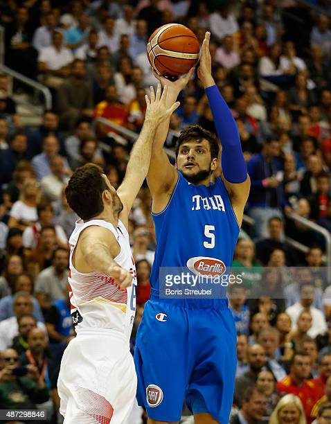Alessandro Gentile of Italy drives to the basket against Spain during the FIBA EuroBasket 2015 Group B basketball match between Spain and Italy at...