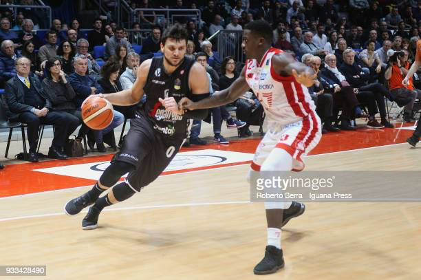 Alessandro Gentile of Segafredo competes with Awadu Abass Abass of EA7 during the LBA LegaBasket of Serie A match between Virtus Segafredo Bologna...