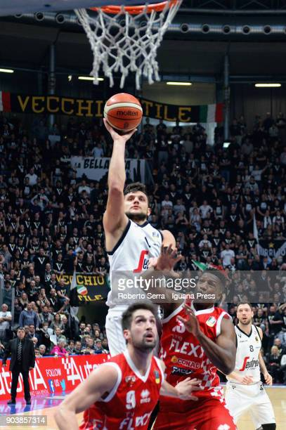 Alessandro Gentile of Segafredo competes with Fabio Mian and Yakhouba Diawara of The Flexx during the LBA LegaBasket of Serie A match between Virtus...