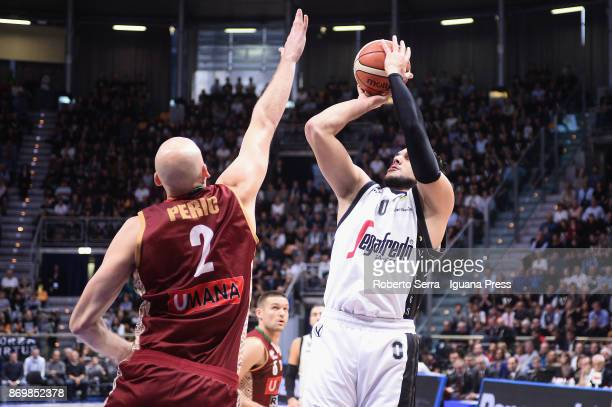 Alessandro Gentile of Segafredo competes with Hrvoje Peric of Umana during the LBA LegaBasket of Serie A match between Virtus Segafredo Bologna and...