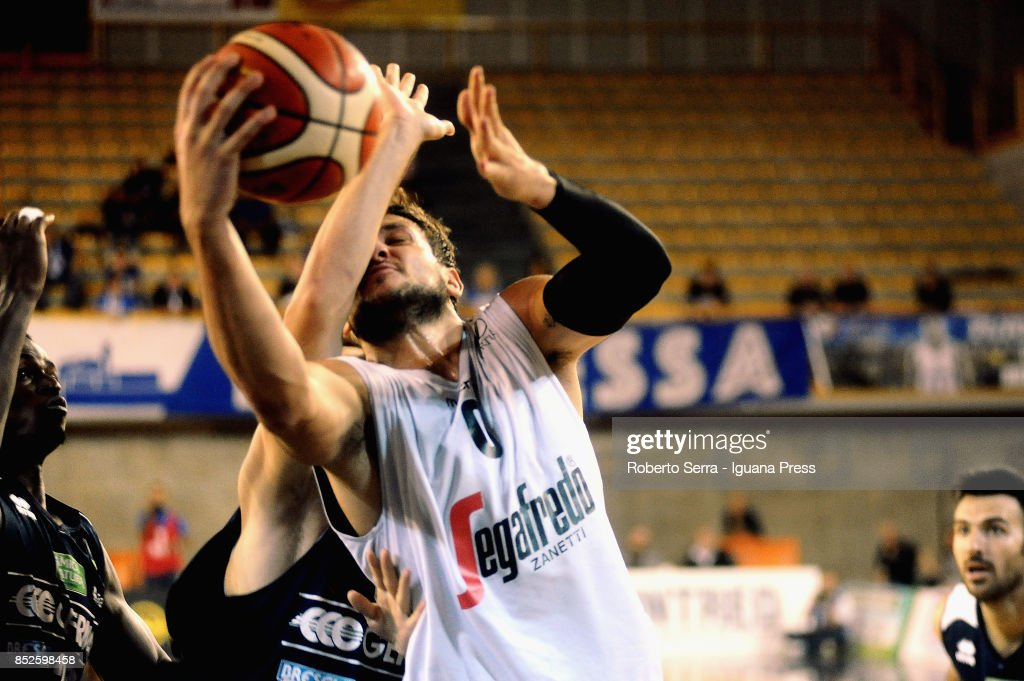 Alessandro Gentile of Segafredo competes with Marcus Landry of Germani during the match between Virtus Segafredo Bologna and Leonessa Germani Brescia of the Roberto Ferrari Basketball Trophy at PalaGeorge on September 23, 2017 in Montichiari, Italy.