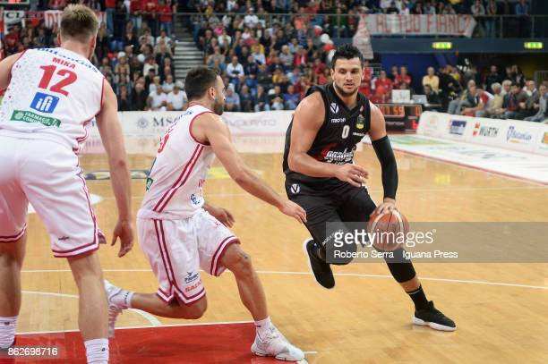 Alessandro Gentile of Segafredo competes with Pablo Bertone of VL during the LBA LegaBasket match between VL Victoria Libertas Pesaro and Virtus...
