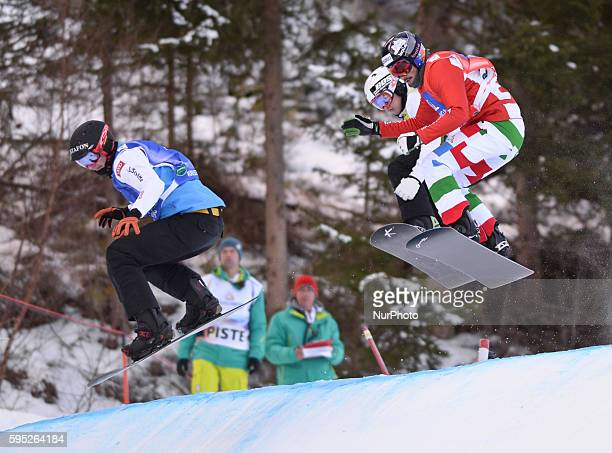Alessandro Haemmerle Jarryd Hughes and Leoni Tommaso during a Men's Snowboard Cross Eight Final 4 at FIS Snowboard World Championship 2015 in...