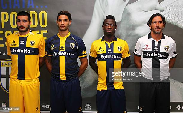 Alessandro Iacobucci Pedro Mendes Afriyie Acquah and Alessandro Lucarelli of FC Parma pose with the new team shirt during a press conference at the...