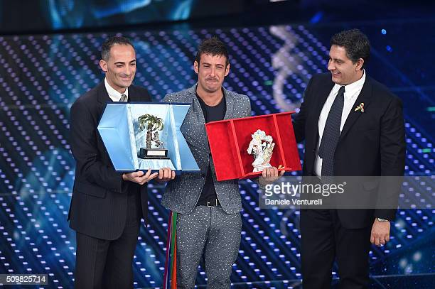 Alessandro Il Grande Giovanni Toti and italian singer Francesco Gabbani winner of Nuove Proposte category of the 66th Italian Music Festival in...
