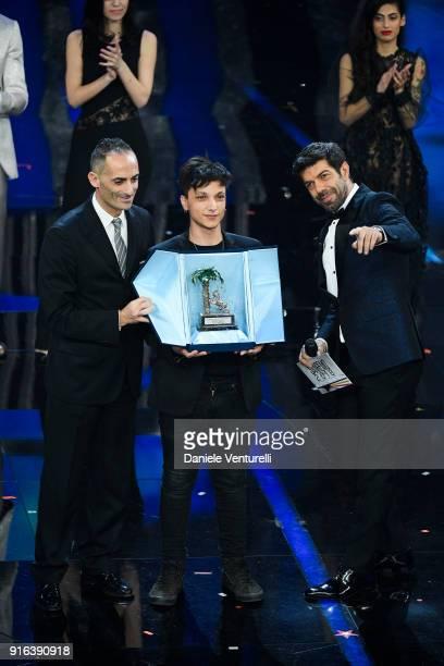 Alessandro Il Grande Pierfrancesco Favino and italian singer Ultimo winner of Nuove Proposte category of the 68th Italian Music Festival in Sanremo...