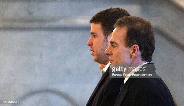 Alessandro Lequio and his son Alex Lequio attend the funeral service for Princess Sandra Torlonia grand daughter of King Alfonso XIII of Spain on...