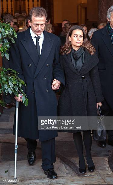 Alessandro Lequio and Maria Palacios attend the funeral service for Princess Sandra Torlonia grand daughter of King Alfonso XIII of Spain on January...