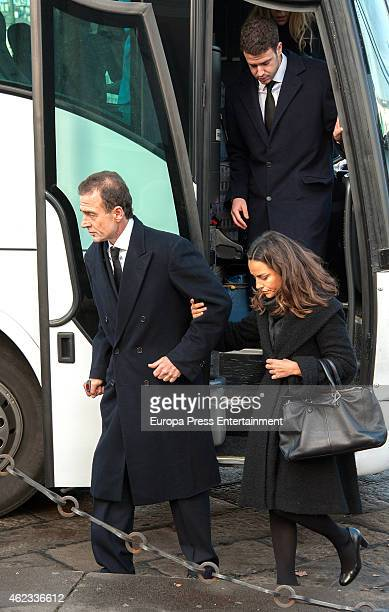 Alessandro Lequio Maria Palacios and Alex Lequio attend the funeral service for Princess Sandra Torlonia grand daughter of King Alfonso XIII of Spain...