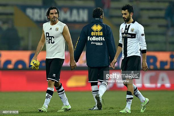 Alessandro Lucarelli and Raffaele Palladino of Parma FC look dejected at the end of the Serie A match between Parma FC and AC Chievo Verona at Stadio...