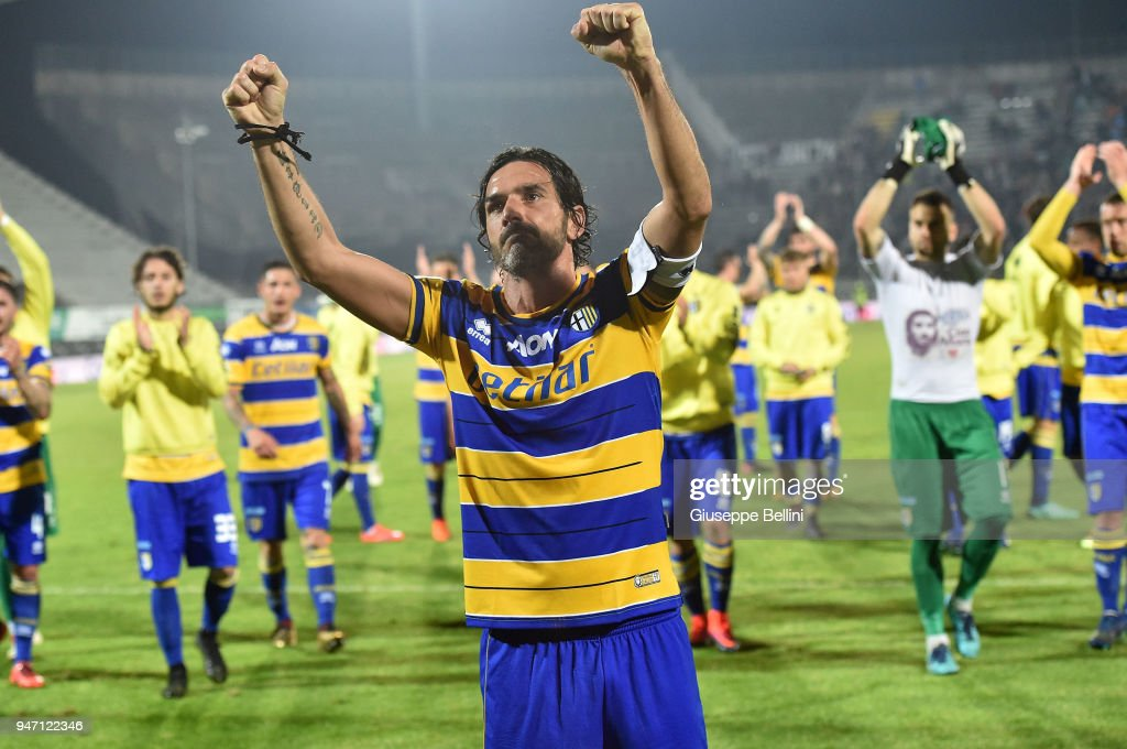 Alessandro Lucarelli of Parma Calcio celebrates the victory after the match between Ascoli Picchio and Parma Calcio at Stadio Cino e Lillo Del Duca on April 16, 2018 in Ascoli Piceno, Italy.