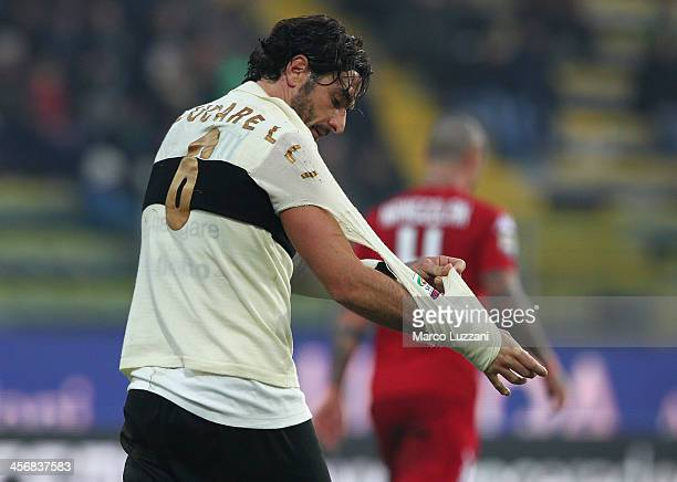 Alessandro Lucarelli of Parma FC has a torn shirt during the Serie A match between Parma FC and Cagliari Calcio at Stadio Ennio Tardini on December...